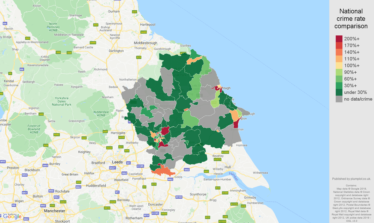 York shoplifting crime rate comparison map