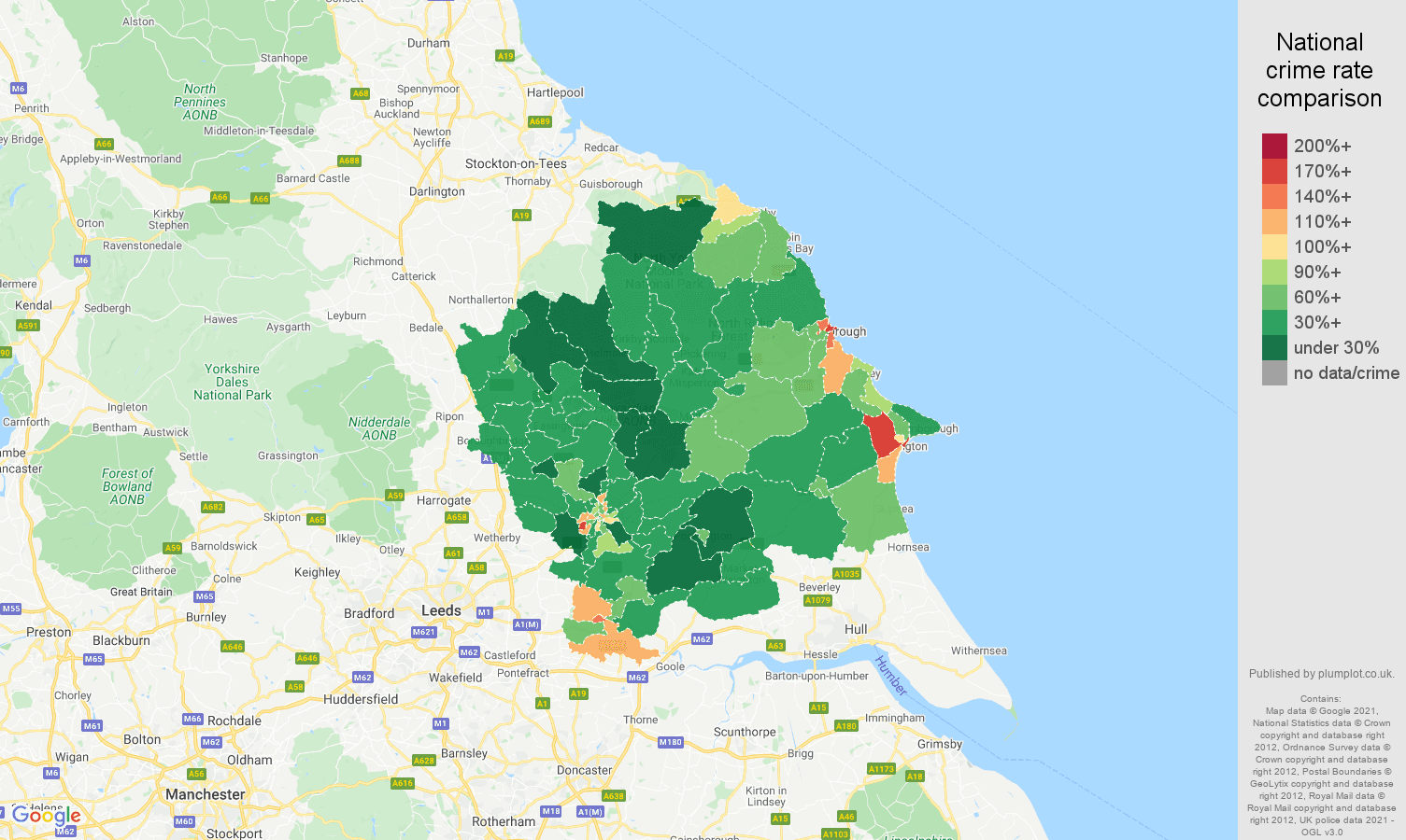 York violent crime rate comparison map