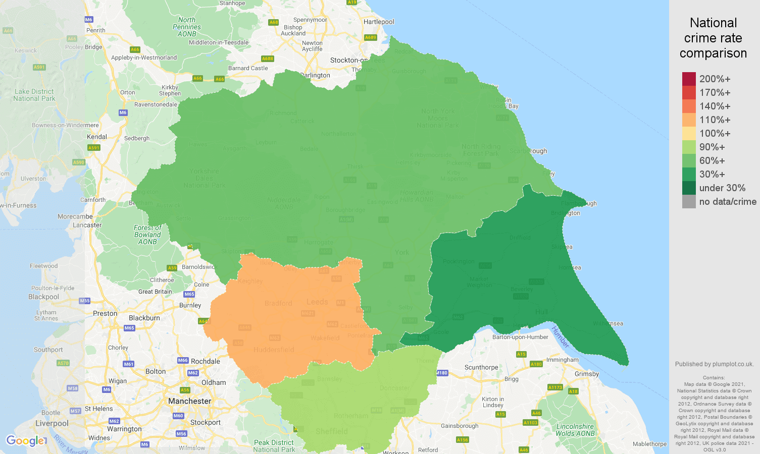 Yorkshire drugs crime rate comparison map
