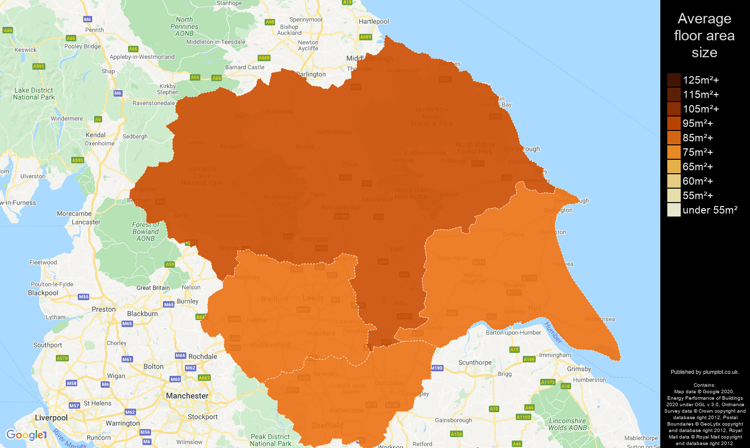 Yorkshire map of average floor area size of houses