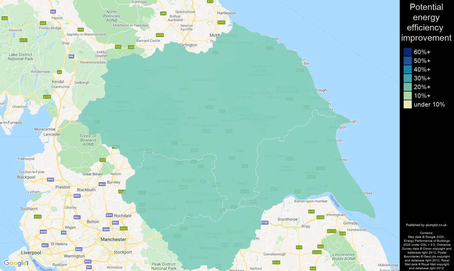 Yorkshire map of potential energy efficiency improvement of properties
