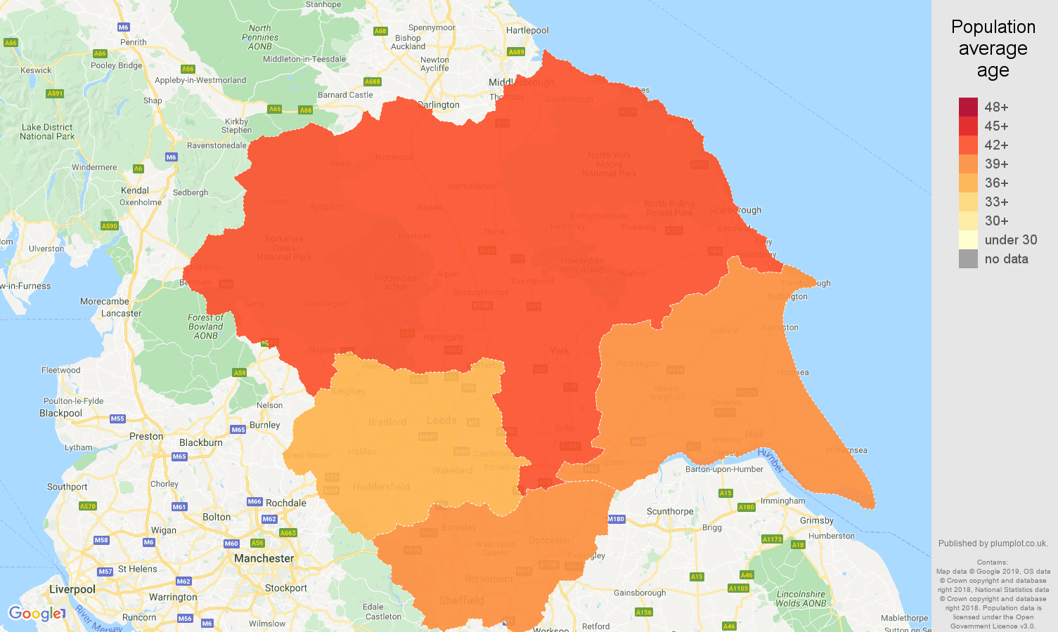 Yorkshire population average age map