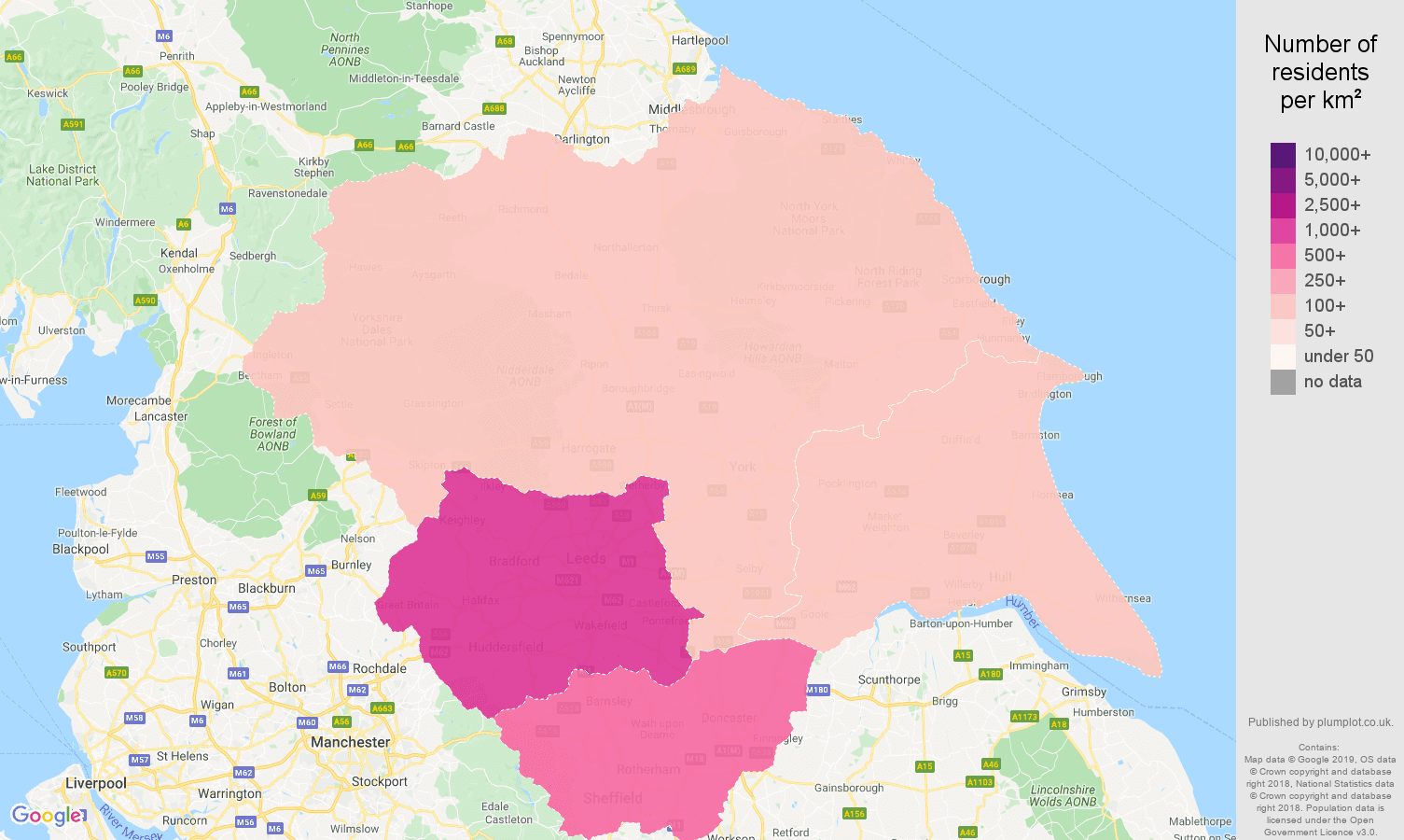 Yorkshire population density map