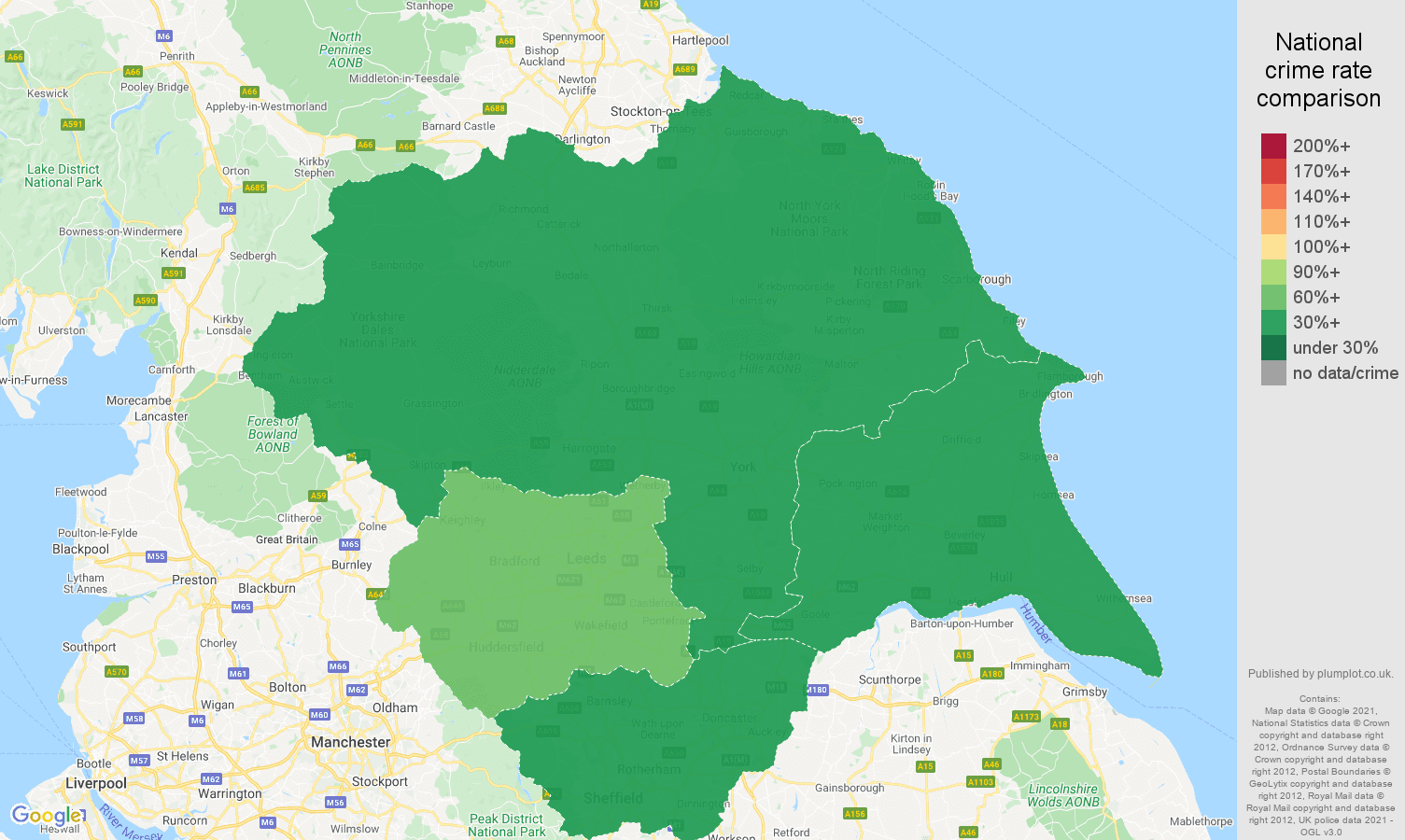 Yorkshire theft from the person crime rate comparison map