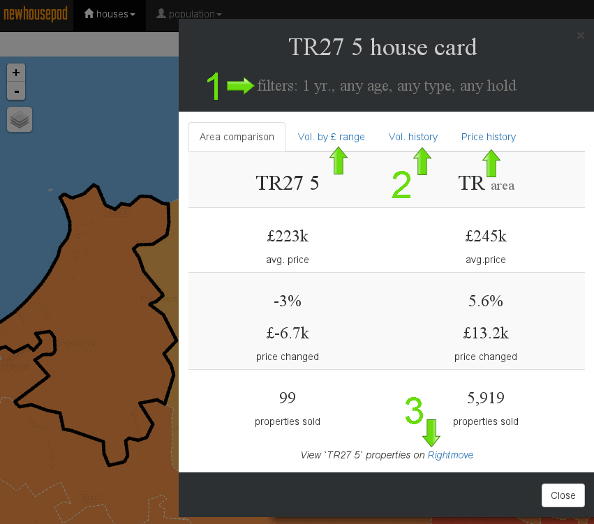 Truro average property price map