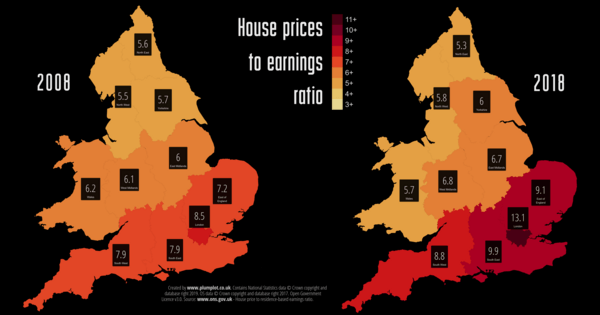House price to earnings ratio 2002 - 2018