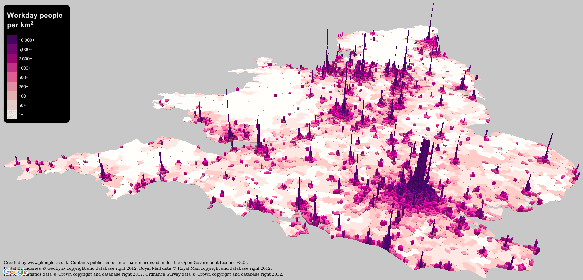 Workday people, per square kilometer